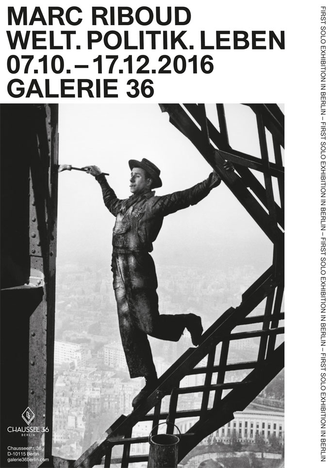 Galerie 36 | MARC RIBOUD Retrospective »WORLD. POLITICS. LIFE«, Photo: Painter On The Eiffel Tower, Paris, 1953 © Marc Riboud