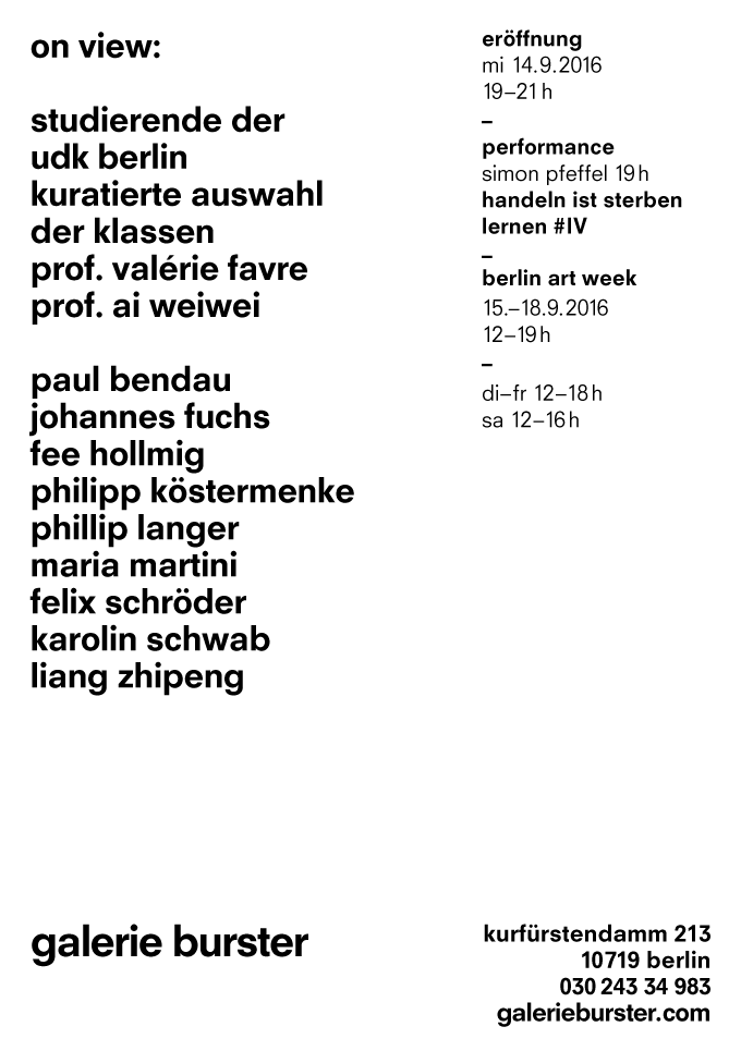 Galerie Burster | »on View:«, Invitation