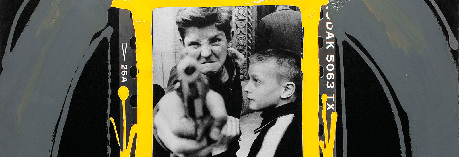 William Klein: Gun 1, Amsterdam Avenue, New York 1954, painted contact 2001 (detail) © William Klein
