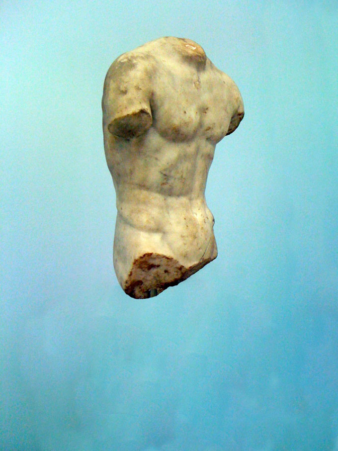 """Greek Sculpture With Blue Background, From The Series """"The Epic Love Story Of A Warrior"""" © Peter Puklus"""